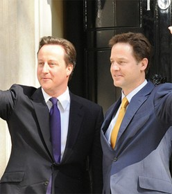 Nick Clegg and David Cameron, courtesy of The Prime Minister's Office, Fli